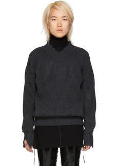 Helmut Lang Grey Distressed Lambswool V-Neck Sweater