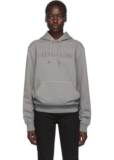 Helmut Lang Grey Embroidered Logo Standard Hoodie