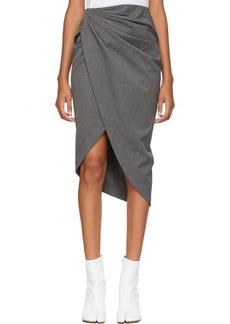 Helmut Lang Grey Wool Draped Skirt