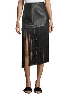Helmut Lang A-Line Leather Mini Skirt with Long Fringe Hem
