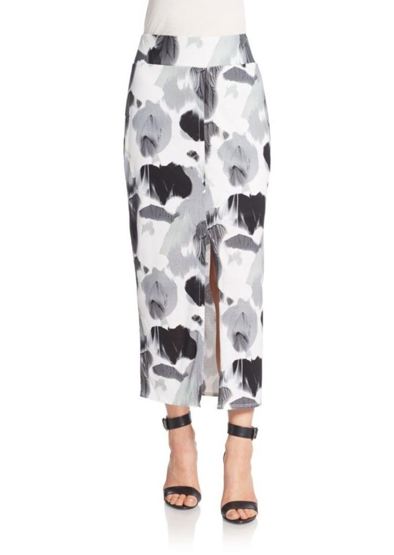 Helmut Lang Printed Silk & Cotton Jersey Pencil Skirt