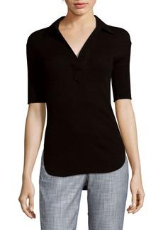 Helmut Lang Angora Split Hi-Lo Hem Knitted Polo Shirt