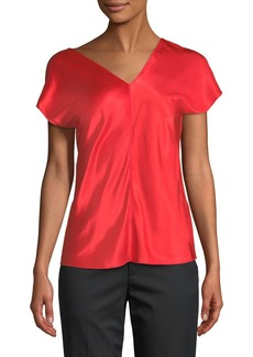 Helmut Lang Asymmetric-Neck Cap-Sleeve Satin Top