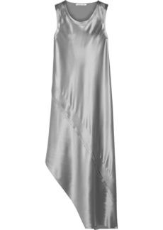 Helmut Lang Asymmetric paneled silk-satin midi dress