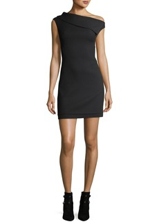 Helmut Lang Asymmetric Sleeveless Crepe Mini Dress