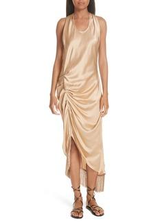 Helmut Lang Asymmetrical Fringe Draped Dress