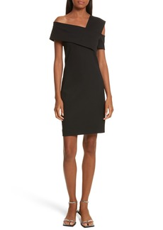 Helmut Lang Asymmetrical Off the Shoulder Scuba Dress