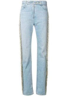 Helmut Lang bead fringe denim jeans - Blue