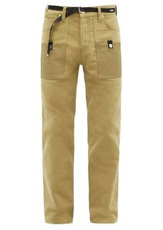 Helmut Lang Belted cotton-moleskin straight-leg jeans