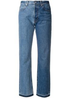 Helmut Lang bicolour raw hem jeans - Blue
