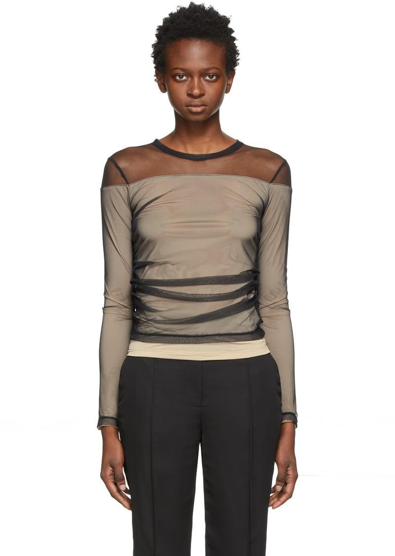 Helmut Lang Black Tulle Layered Long Sleeve T-Shirt