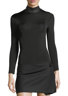 Helmut Lang Bondage Leather Neck Long-Sleeve Stretch Top