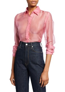 Helmut Lang Button-Down Long-Sleeve Silk Organza Shirt