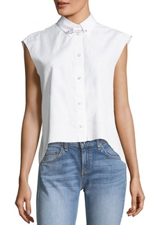 Helmut Lang Button-Front Sleeveless Cropped Poplin Shirt