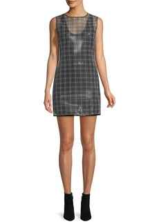 Helmut Lang Cellophane Plaid Shell Mini Dress