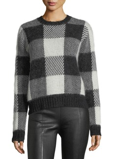 Helmut Lang Check-Block Jacquard Oversized Wool-Blend Sweater