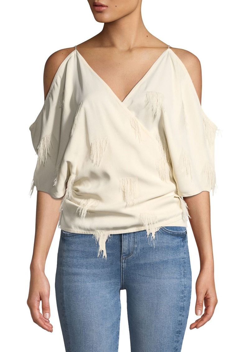 Helmut Lang Cold-Shoulder Fringe Wrap Top