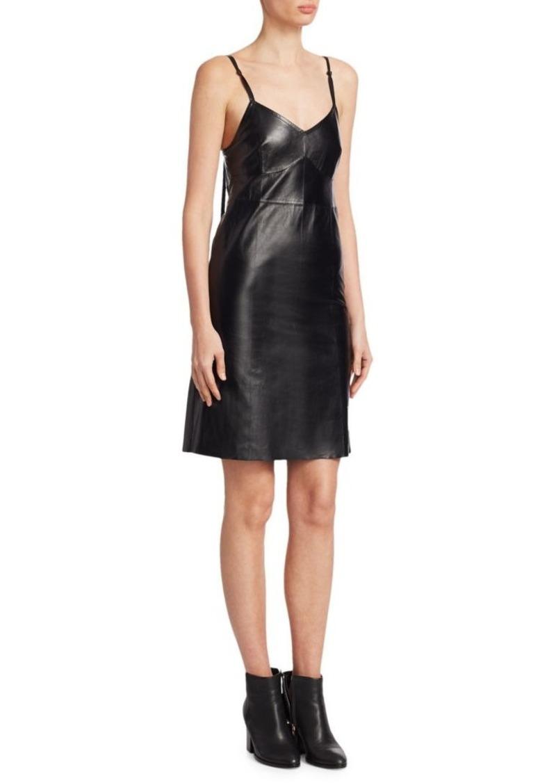Helmut Lang Cold Shoulder Leather Slip Dress