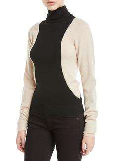Helmut Lang Colorblock Lambs Wool Turtleneck Sweater