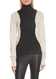 Helmut Lang Colorblock Wool Blend Turtleneck Sweater