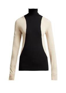 Helmut Lang Colour-block wool-blend roll-neck sweater