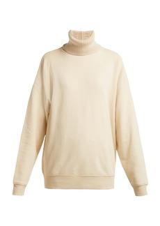 Helmut Lang Contrast roll-neck cotton-jersey sweatshirt