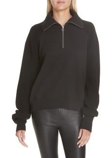 Helmut Lang Contrast Sleeve Quarter Zip Sweatshirt