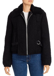 Helmut Lang Convertible Shearling and Tweed Bomber Jacket