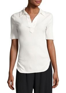 Helmut Lang Corded Rib-Knit Short-Sleeve Shirt