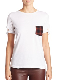 Helmut Lang Cotton Plaid Pocket Tee