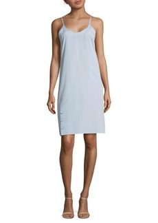 Helmut Lang Cotton Sleeveless Wrap Cotton Shift Dress