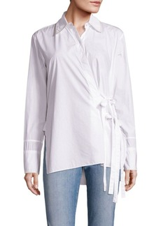 Helmut Lang Cotton Tie-Front Shirt