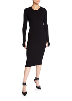 Helmut Lang Crewneck Long-Sleeve Rib-Knit Dress