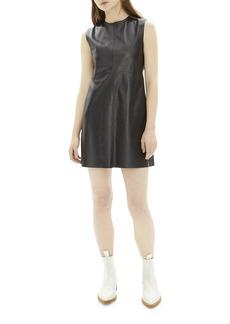Helmut Lang Crewneck Open-Back Mini Leather Dress