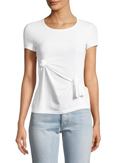 Helmut Lang Crewneck Short-Sleeve Knot Baby Tee