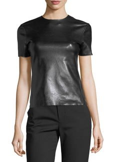 Helmut Lang Crewneck Short-Sleeve Leather T-Shirt