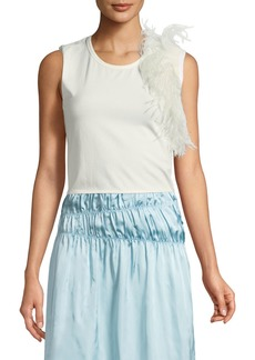 Helmut Lang Crewneck Sleeveless Cotton Tank with Feathers