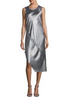 Helmut Lang Crewneck Sleeveless Lacquered Silk Tank Dress