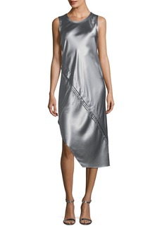 Helmut Lang Crewneck Sleeveless Lacquered Silk Tank Dress