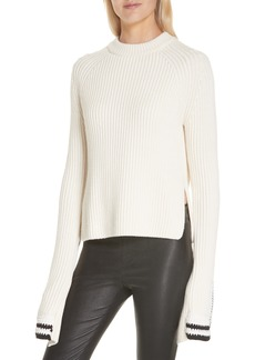 Helmut Lang Crochet Cuff Wool & Cotton Sweater