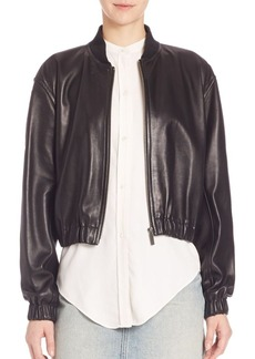 Helmut Lang Cropped Lamb Leather Bomber Jacket