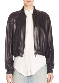 Helmut Lang Cropped Leather Bomber Jacket
