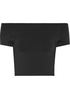 Helmut Lang Cropped off-the-shoulder stretch-jersey top