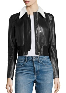 Helmut Lang Cropped Shearling & Leather Jacket