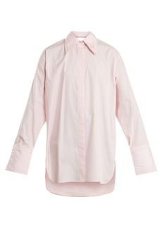Helmut Lang Cut-out detail oversized cotton shirt