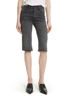 Helmut Lang Cutoff Knee Length Denim Shorts