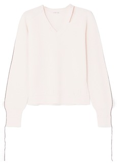Helmut Lang Cutout Distressed Cotton-blend Sweater