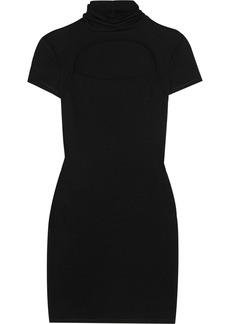 Helmut Lang Cutout silk-trimmed wool-blend turtleneck mini dress