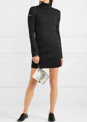 Helmut Lang Cutout wool-blend turtleneck mini dress
