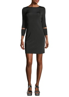 Helmut Lang Detached-Cuff Crewneck Fitted Dress